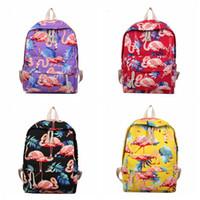 Wholesale girl laptops online - Flamingo Pattern Perilla Backpack prited Women Cute Female Travel Daily Laptop Knapsack Canvas shouldersTeenage Girls school bag AAA1811