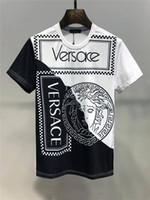 xl tamanho da camiseta venda por atacado-Versace 2019 Verão Nova Chegada Top Quality Designer de Roupas de Moda Masculina Camisetas T-shirt Da Cópia Da Medusa Tamanho M-3XL 6219