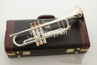 Wholesale instrument trumpet silver for sale - Group buy Hot New Product LT197S Trumpet B Flat Silver Plated Popular instruments Music With Case