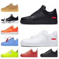 air shoes for sport venda por atacado-Nike Air Force 1 One Dunk 1 Low Platform Trainers Shoes Utility Preto Branco Vermelho Verde Laranja Liso Designer Couro Sapatos casuais tênis esportivos