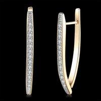 ingrosso orecchini a diamanti a vite-18 carati orecchini di diamanti champagne oro intarsiato zircone geometrica Orecchini romantico Clip-onScrew Torna monili dell'orecchino elegante compleanno POTALA127