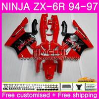 verkleidung zx6r 95 rot großhandel-Karosserien Für KAWASAKI NINJA ZX 636 600CC ZX6R 94 95 96 97 61HM.5 ZX600 ZX636 ZX-6R 94 97 ZX6R 6R 1994 1995 1996 1997 Verkleidung Rot West Glossy