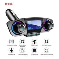 автомобиль сотового телефона bluetooth оптовых-BT06 Сотовый телефон FM-передатчики Aux Bluetooth 4.0 Автомобильный комплект громкой связи 1.3 '' ЖК-дисплей 5 В 3.1A Dual USB зарядное устройство Автомобильный MP3-плеер Поддержка TF C