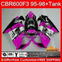 1996 honda cbr pink fairings toptan satış-HONDA CBR600FS CBR600CC CBR 600 FS 41NO.158 CBR600F3 CBR 600F3 1995 1996 1997 1998 CBR600 F3 95 pembe siyah 96 97 98 kaporta için Vücut Tankı