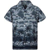 düğme bluzları kısa kollu toptan satış-Erkekler Yaz Casual Düğme Hawaii Baskı Plaj Kısa Kollu Hızlı Kuru Bluz