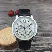bracelet de calendrier achat en gros de-Trouver des articles similaires Tous les cadrans qui fonctionnent Chronomètre Hommes Montres de luxe avec calendrier Bracelet en cuir Marque supérieure Montre à quartz pour hommes High Q