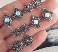 подвеска без алмаза оптовых-Полый бриллиант Цветок Earstud синий драгоценный камень кулон серьги посеребренные заявление женщина ювелирные изделия лучшие подарки бесплатная доставка