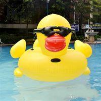 säugling aufblasbarer pool schwimmt groihandel-Aufblasbare Riesen StyleRubber Ente Schwimmdock Row-Fahrt auf Tier-Spielzeug-Pool-Spielzeug Erwachsene im Freien Summer Infant Schwimmen-Ring-Schwimmen-Bett 102hmy Y