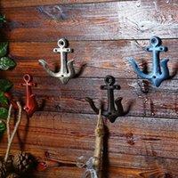âncora de ferro vermelho venda por atacado-Metal Anchor ganchos de parede Porta Roupa montados toalha Hat Key Hanger Branco Vermelho Azul Castanho andcrafted ferro fundido antigo clássico