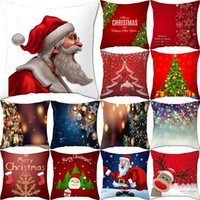 Wholesale chair covers ivory resale online - Boniu Square Merry Christmas Cushion Cover Polyester Sofa Car Santa Claus Throw Pillow Covers Home Decor Chair Pillowcase