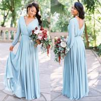 Wholesale v neck wedding dresses ruffle resale online - Boho Chiffon Bridesmaids Dresses V Neck Long Sleeves Backless Party Dress Cheap Wedding Guest Bridesmaid Dresses