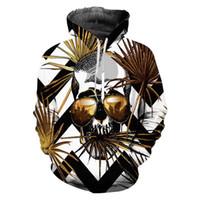 sudadera con capucha vetement al por mayor-Unisex Oversize Men Sweatshirt Impresión 3D Gold Skull Hoodies Manga Larga Pullover Hombres Ropa Vetement Homme con capucha Street Street