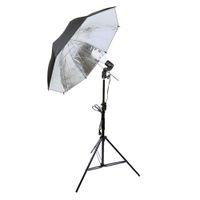 ingrosso kit ombrello foto-Kit di illuminazione per fotografia Kit ombrello per foto Ombrello riflettente nero / argento + Supporto luminoso 2m + Lampadina + Portalampada per diffusore da studio