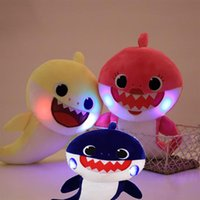 Wholesale 25cm new Colors Baby Shark Plush Toys with Music Cartoon Stuffed Lovely Animal Soft Dolls Music Shark Toy Luminescence Sound shark C3