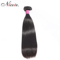 16 zoll gerade menschliches haar großhandel-Nico-Haar-brasilianisches gerades Haar ein Bündel-natürliche Farbe Non Remy 100% Menschenhaar 100g / Piece kann 8-26 Zoll gefärbt werden Freies Verschiffen
