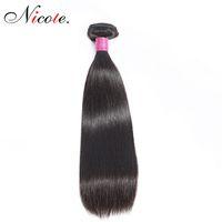 un pelo lacio remy al por mayor-Nico Hair Brasileño Cabello Liso Uno Bundles Color Natural No Remy 100% Cabello Humano 100 g / Pieza Se Puede Teñir 8-26 Pulgadas Envío Gratis