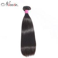 cheveux remy brésiliens 14 pouces achat en gros de-Nico Hair Cheveux Raides Brésiliens Un Bundles Couleur Naturelle Non Remy 100% Cheveux Humains 100g / Pièce Peut être Teint 8-26 Pouces Livraison Gratuite