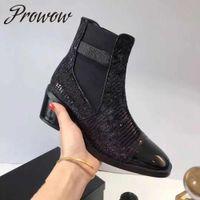 ingrosso scarpe con tacco in legno-Prowow in vera pelle tacco in legno nero tacco spesso stivaletti punta tonda slip on autunno inverno stivali scarpe donna