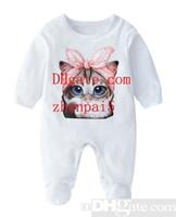 ingrosso vestito bianco del pagliaccetto dei neonati-ragazza ragazzo Vestiti Baby Pagliaccetti Tuta Estate Stampa gattino bianco Pagliaccetto Onesies neonato ragazzo vestiti di alta qualità vestiti del bambino TG-5