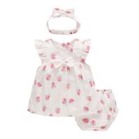 üç tatlı kız toptan satış-Çocuk giyim Bebek Bebek Prenses Giydir Tatlı Çilek Kız Giydir ve İç Giyim ve Hairband Üç parçalı Setler