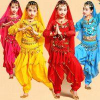 dansöz kızlar toptan satış-Uzun Kollu Çocuk Kız Oryantal Dans Kostüm Set Çocuklar Performans Hint Dans Çocuk Kız Bellydance Kız Mısır Dans Kostümleri