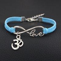 bracelete do encanto do sinal do infinito venda por atacado-Bohemian Infinito Amor Forma 3D Sinal Charm Bracelets Para Mulheres Homens Boho Étnico Multilayer Camurça De Couro Azul Cuff Bangles Pulseira Jóias