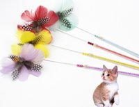 Wholesale toys play for sale - Group buy pet cat kitten playing toys ostrich feather cat teaser rod sticks double color feather