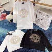 kızlar beyaz sweatshirt toptan satış-moda Yeni Bebek Çocuk Bebek Erkekler Kızlar Uzun Kollu T shirt Siyah beyaz Eşofman Kazak Sonbahar kız elbisesi