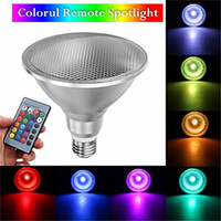Wholesale e27 floodlights resale online - Led Spotlight E27 B22 PAR38 W RGB Colored Light Bulb with Color Changing IR Remote Control Waterproof Floodlight for Outdoor Decoration