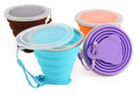 Wholesale 200ml Portable Silicone Retractable Folding Cup Colors Outdoor Telescopic Collapsible Folding Tumblerful Cups Folding Water Cup