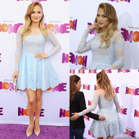 Wholesale baby wear photos resale online - Short Baby Blue paolo sebastian prom dresses inspired Jennifer Lopez Wear on evening Long Sheer Sleeves Lace Formal Cocktail Party hot