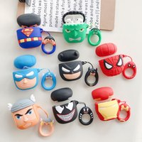 Wholesale 3d batman case cover online – custom 3D Cartoon Superhero Case for Apple AirPods Superman Batman Captain America Spiderman Protective Shockproof Silicone Case Cover Pouch