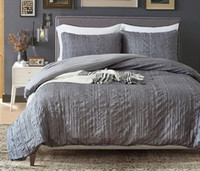 Wholesale gray queen bedding sets for sale - Grey Bedding Set Drape Duvet Cover Bedsheet with Two Pillowcase Nordic Style Queen Size