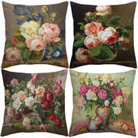 Wholesale vintage pillows bird for sale - Group buy Vintage Style Oil Painting Flowers Cushion Covers European Retro Birds And Flowers Art Cushion Cover Beige Linen Pillow Case