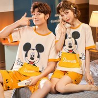 Wholesale cute cartoon underwear resale online - Couple women Underwear pajamas pajamas pajamas s short sleeved cotton round collar men s home wear two piece suit cute cartoon women