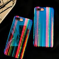 llamo a azul al por mayor-Diseñador de lujo 3D Rainbow Pattern Blue Ray Cubierta de la caja del teléfono para iPhone X XS 7 6 6s 8 Plus I Phone 8plus 7plus Fundas de silicona hermosas Coque