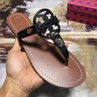 sıcak 68 toptan satış-2019 Yeni Moda Klasik Sıcak satış Tory Sandalet Hakiki deri Üst Marka Ayakkabı kadın iyi Sandalet Deri Flip-Flop Kadın Terlik 68