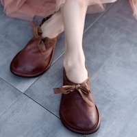 Vintage Handmade Folk Style Women Flats Casual Shoes Genuine Leather Lady Soft Bottom Shoes For Mother Fashion Loafers