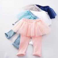 Wholesale baby clothing 18 24 months for sale - Group buy 2019 fall winter candy girls leggings pants kids cotton tights pants with tutu baby girl pleated skirt pantskirt childrens boutique clothing