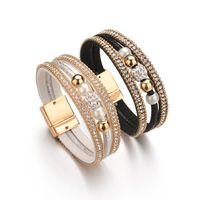 encantos de pulseiras venda por atacado-6 Cores De Cristal Charme Moda Pulseira Pulseiras Para As Mulheres Novas Múltiplas Camadas De Couro Pulseira Pulseira Jewerly BB1