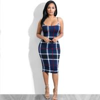 sıcak seksi gece klübü parti elbisesi toptan satış-Yeni Ünlü Parti Ekose Bodycon Yaz Elbise Kadınlar Kapalı Omuz Sıcak Seksi Gece Out Kulübü Kılıf Elbiseler Kadın Vestidos