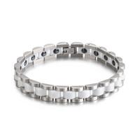 женщина керамическая полоса оптовых-Men Women Stainless Steel Ceramic Bracelet Trendy Wrist Band Ceramic Bracelet Germanium  Benefit Health Bangle
