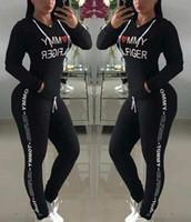 sıcak set baskı toptan satış-Sıcak Satış bahar tarzı ter gömlek Baskı eşofman kadın Uzun Pantolon Kazak Womens set Kadın Spor Takım Elbise Tops