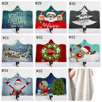 Wholesale acrylic blankets adult resale online - 35styles Christmas Cloak Blankets D Printed Sherpa Hooded Blanket Throw Blanket Kids Adults Winter Plush Cape Towel Christmas Gift MMA1119