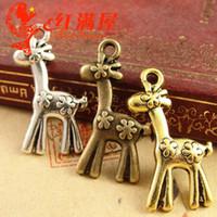 diy hayvan mobil toptan satış-17 * 30 MM Antik bronz Retro-büyük cep telefonu aksesuarları takı Kore geyik charms altın, diy tibet gümüş hayvan kolye