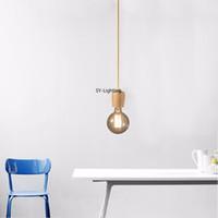 colgante de plastico blanco luz al por mayor-1 UNID E27 lámpara de luz de techo base 1 M Nordic Art estilo de madera araña de iluminación colgante moderno restaurante loft luces de la cocina