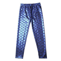 ingrosso pantaloni grandi-Kid Girls Mermaid Pants 12 colori pesci scala arcobaleno stampato bambini grandi designer vestire elastico in vita legging collant pantaloni 6-9T