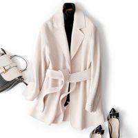 Wholesale solid belt handmade for sale - Group buy 2020 Autumn Winter jacket Women Pure Handmade cashmere solid colour wool coat women cashmere trenchcoat elegant overcoat Belted