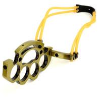 ingrosso fionda all'aperto-Nuovo articolo all'ingrosso HeyTec Professional Outdoor Hunting Tools Metallo SlingShot Knuckle Knuckle Brass, DHL spedizione gratuita