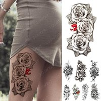 Wholesale tatoo arm sleeve resale online - Waterproof Temporary Tattoo Sticker Lip butterfly Rose Flowers Flash Tattoos Simple Lines Body Art Arm Fake Sleeve Tatoo Women